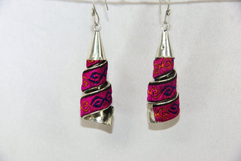Earrings Large - spire-shaped with embroidery