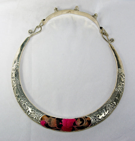 Miao Chestpiece - Hollow hammered animal impression rings with matching embroidered motif