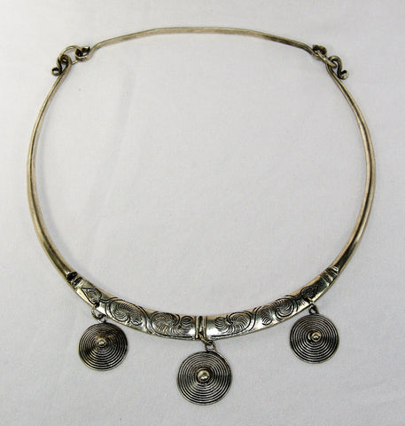 Miao Silver choker -  floral engraving with dangling embroidered charms