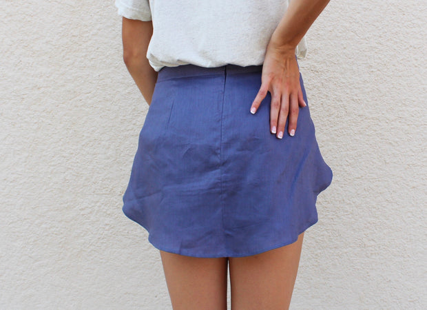 Blue Linen Wrap Skirt