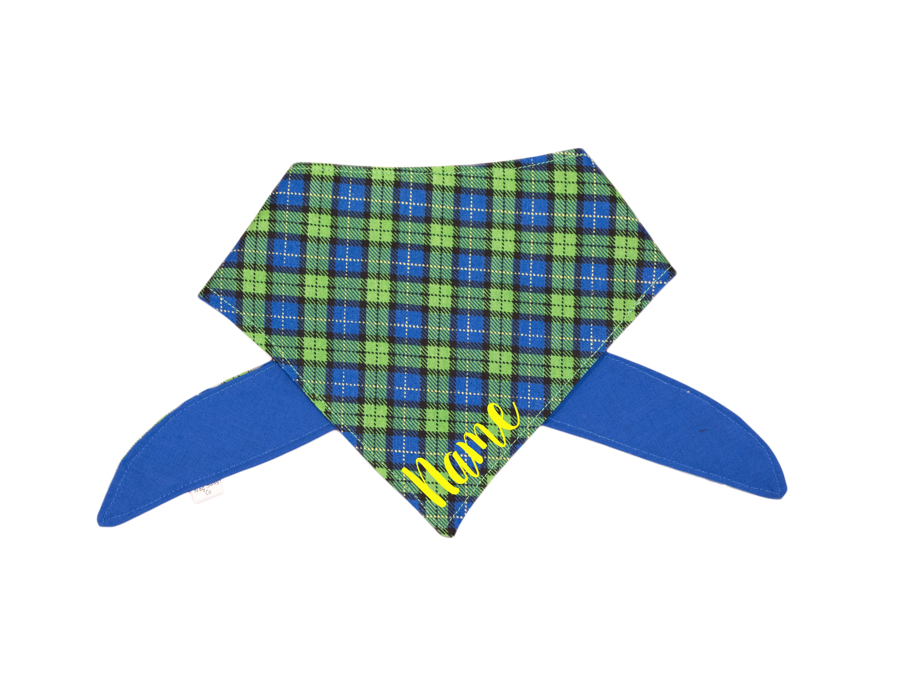 Green, Yellow, and Blue Plaid Bandana