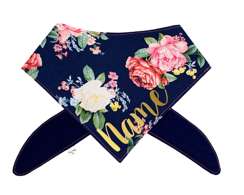 Navy Bright Rose Bandana (Gold Metallic Font)