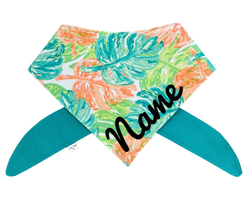 Monstera Tropical Coral, Turquoise, Green Bandana