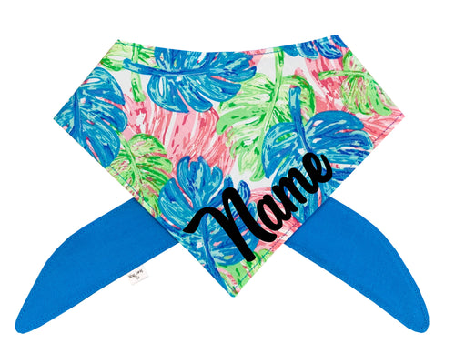 Monstera Tropical Pink, Blue, Green Bandana