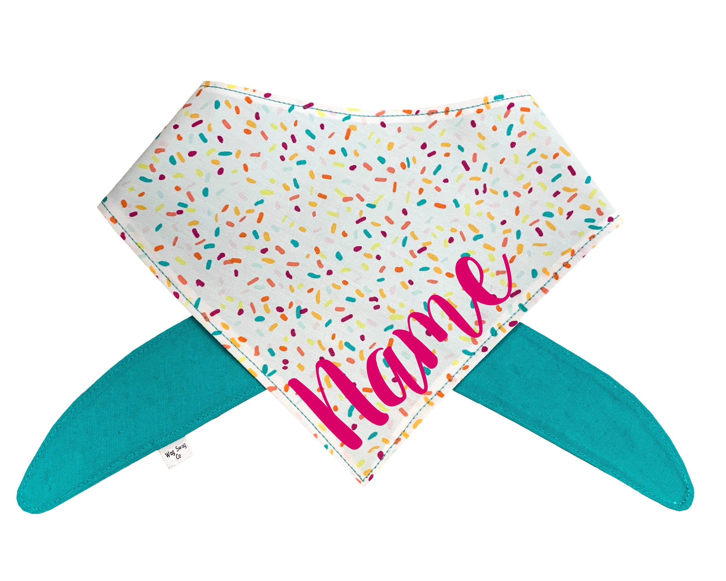 Birthday Sprinkles Bandana (Turquoise or Pink Font)