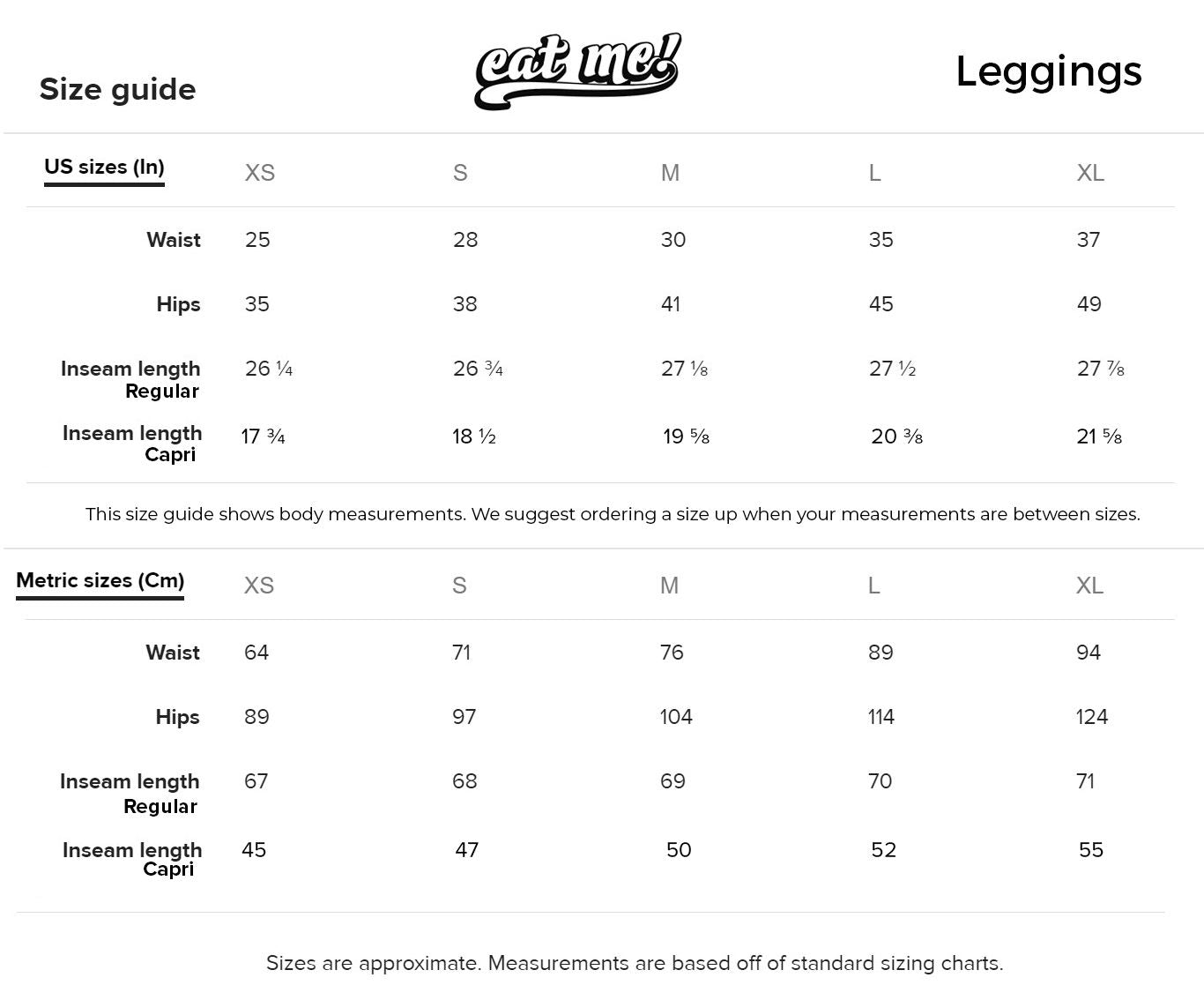 Women's Leggings Size Guide