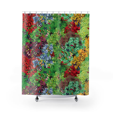 Plants & Butterflies Shower Curtain-Shower Curtains-Eat me!