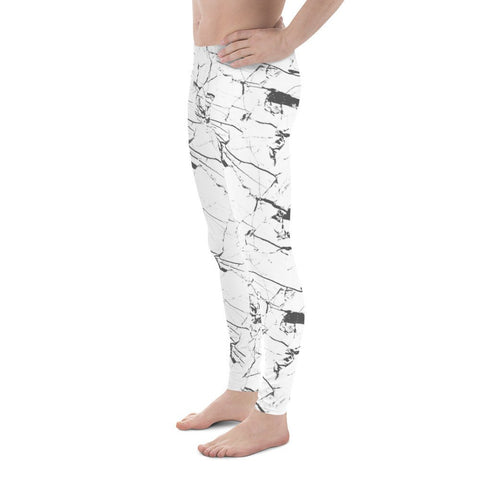 White Marble Sports Men's Leggings-Meggings-Eat me!