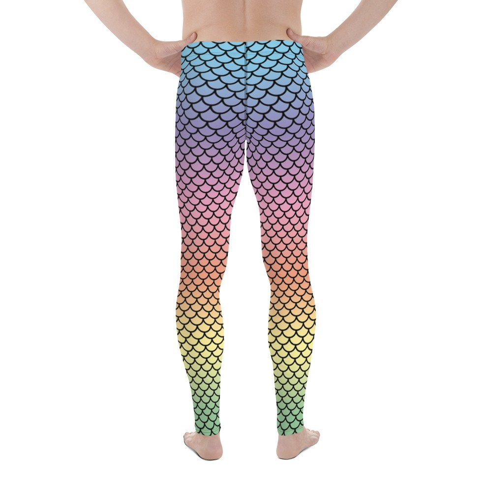 Rainbow Merman Fish Scale Leggings Meggings- eatmeclothing