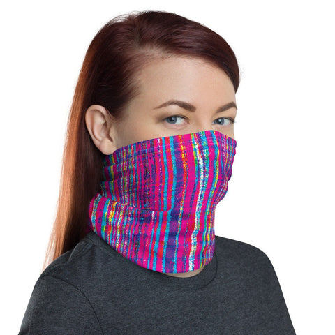 12 in 1 Vertical Fucsia Glitch Stripes Neck Gaiter Face Mask-Neck Gaiter-Eat me!