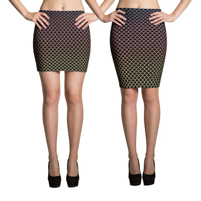 Black Rainbow Mermaid Pencil Skirt-Skirts-Eat me!