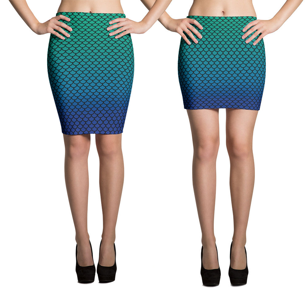 Blue Green Mermaid Pencil Skirt | Falda Tubo Sirena Azul y Verde-Skirts-Eat me!