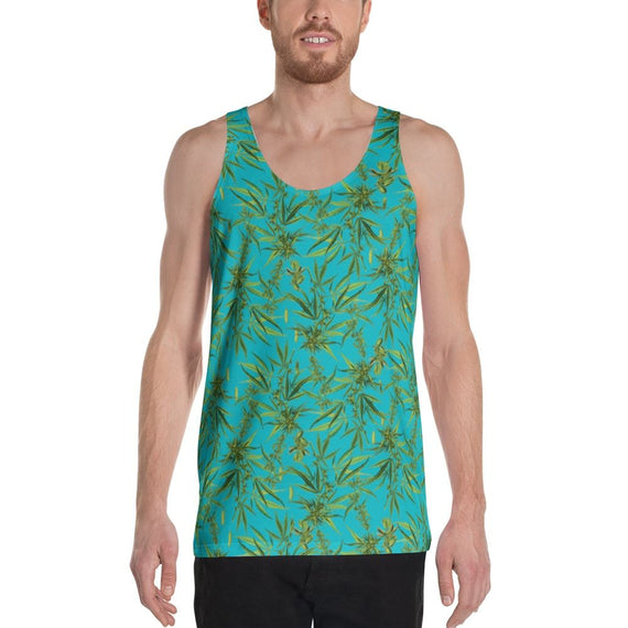 Cannabis Sativa Turquoise Sleeveless Shirt | Musculosa Cannabis Sativa Sleeveless Shirt- eatmeclothing