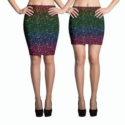 Rainbow Glitter Pencil Skirt-Skirts-Eat me!