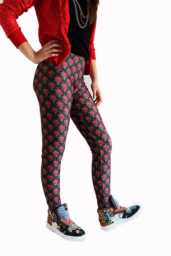 Little Red Roses Leggings | Rosas Rojas Leggings-Leggings-Eat me!
