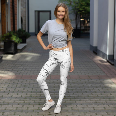 White Marble Leggings-Leggings-Eat me!