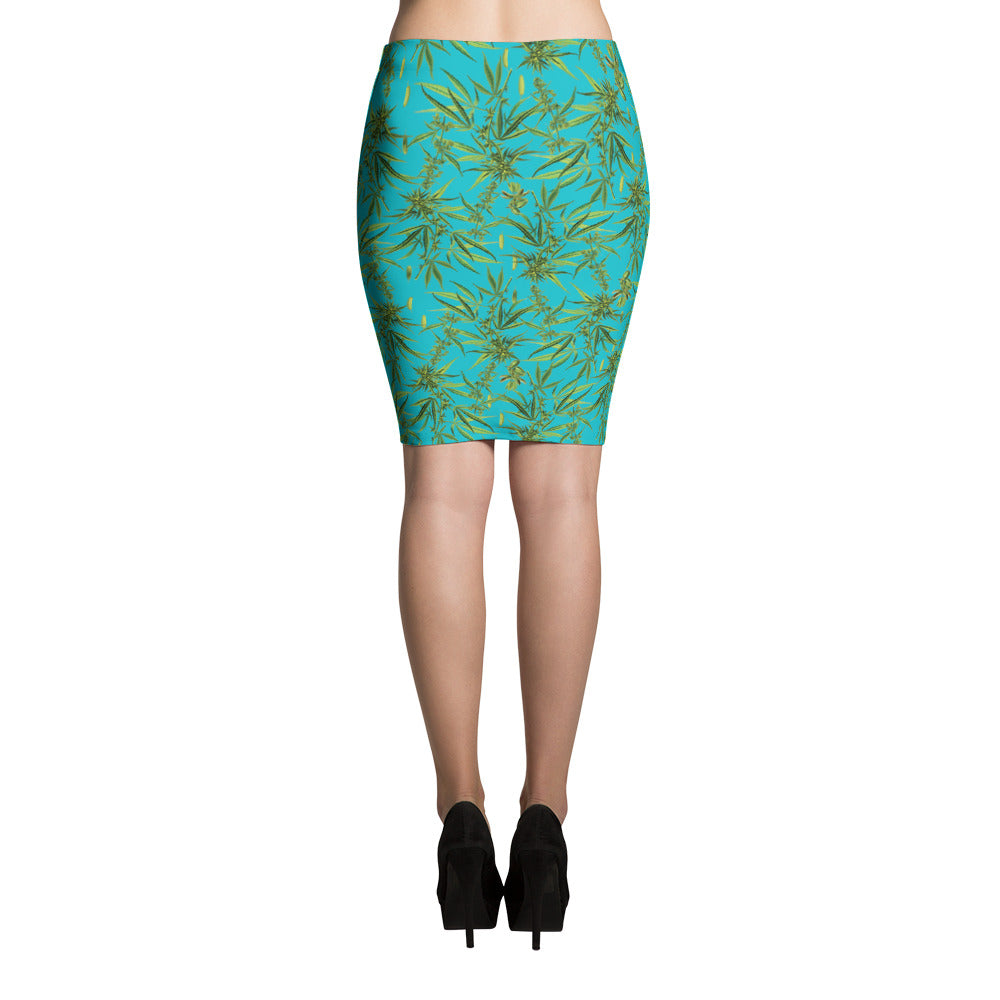 Cannabis Pencil Skirt-Skirts-Eat me!