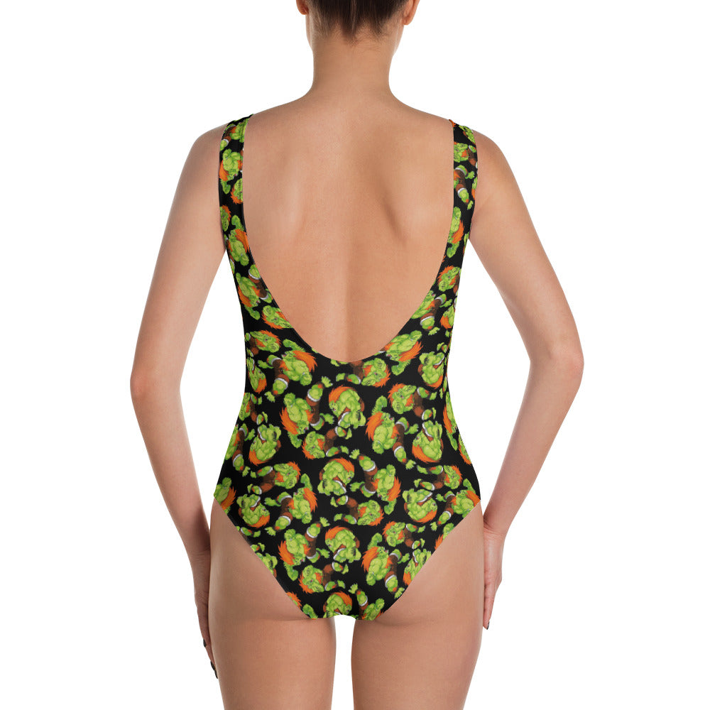 Blanka Street Fighter One-Piece Swimsuit | Traje de baño Blanka Street Fighter Swimsuit- eatmeclothing