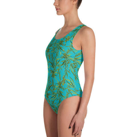 Cannabis Sativa Turquoise One-Piece Swimsuit | Traje de baño Cannabis Sativa
