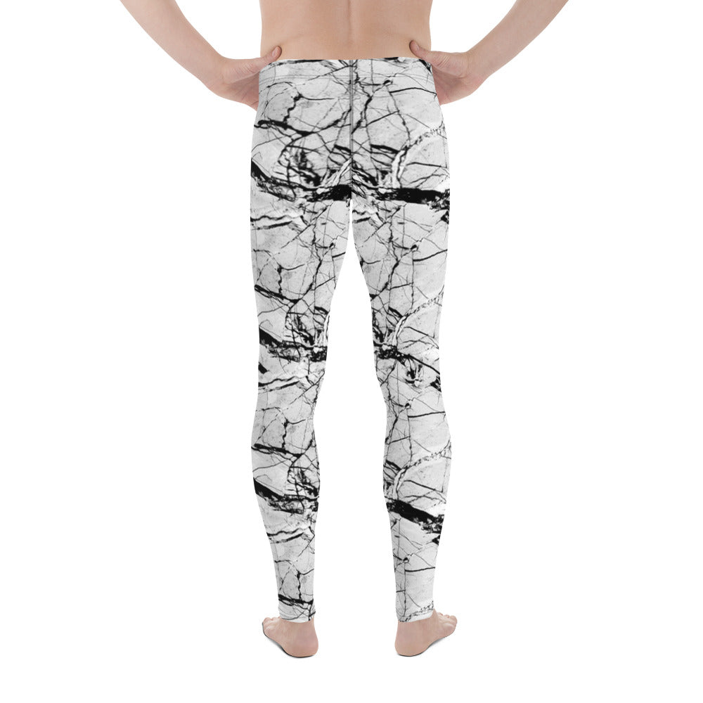 Grey Marble Performance Men's Leggings-Meggings-Eat me!