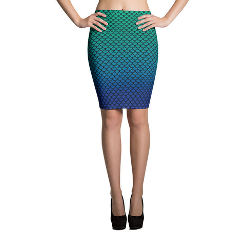 Blue Green Mermaid Pencil Skirt  | Falda Tubo Sirena Azul y Verde