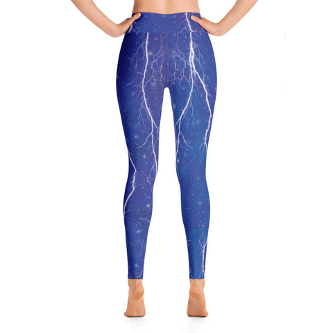 Blue Lightning Yoga Leggings-Yoga Leggings-Eat me!