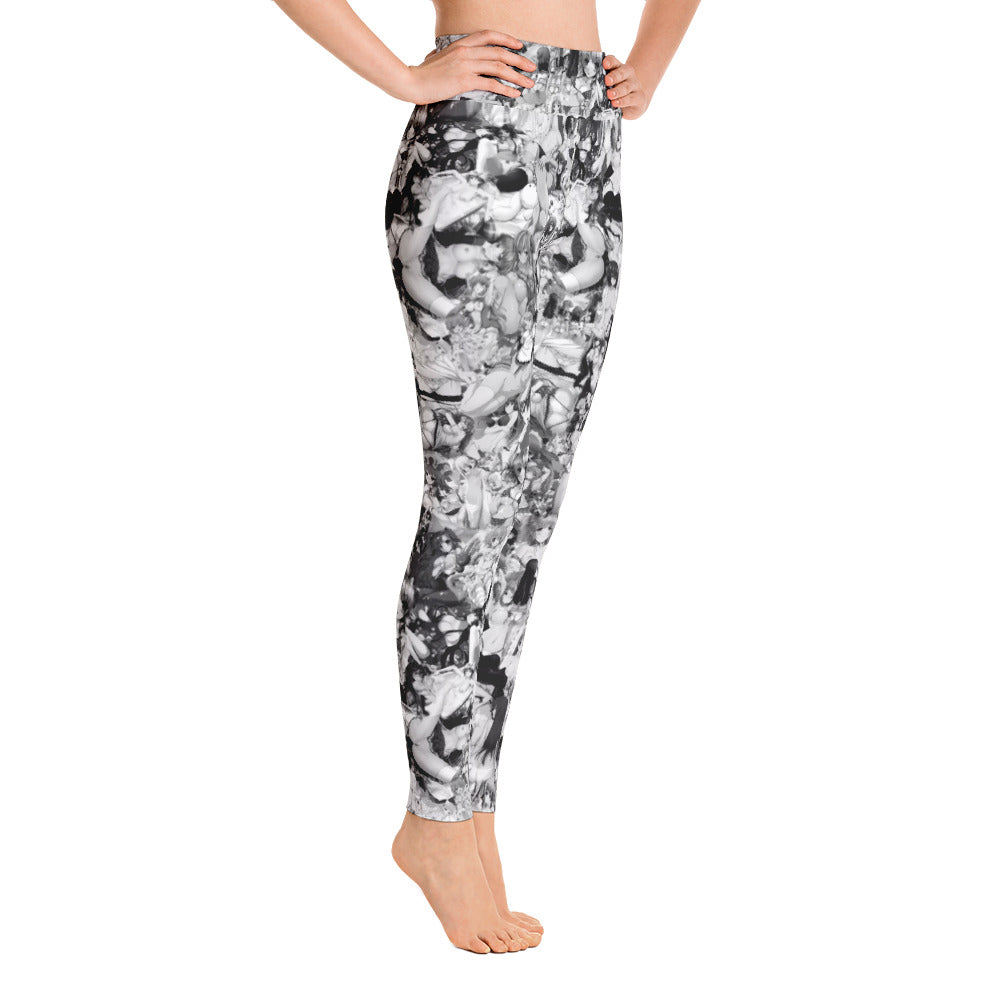 Hentai Black & White Yoga Leggings | Yoga Leggings Hentai Blanco & Negro