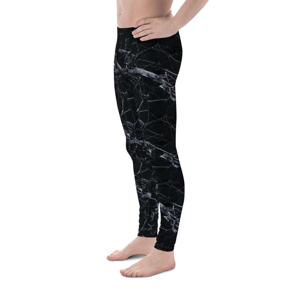 Black Marble Performance Men's Leggings-Meggings-Eat me!