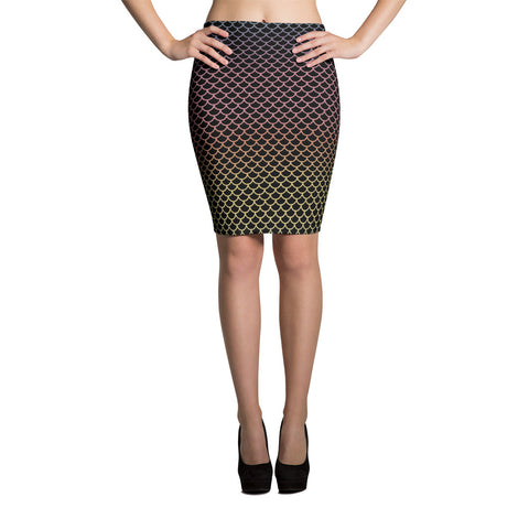 Black Rainbow Mermaid Pencil Skirt | Falda Tubo Sirenas Negras