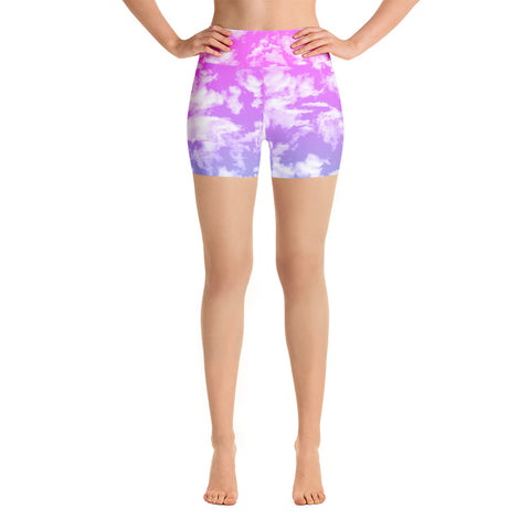 Clouds Yoga Shorts-Yoga Shorts-Eat me!