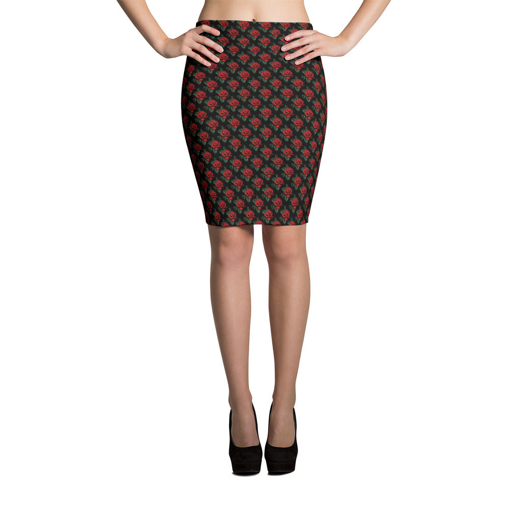 Little Red Roses Pencil Skirt | Falda Tubo Rosas Rojas-Skirts-Eat me!