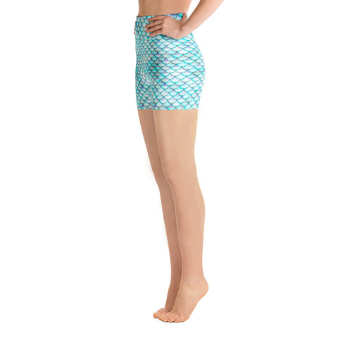 White Mermaid Yoga Shorts | Yoga Shorts Sirena Blanca