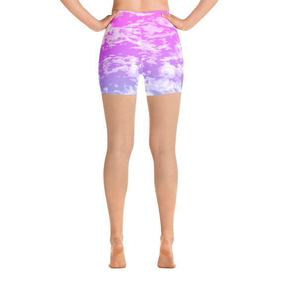 Clouds Yoga Shorts | Yoga Shorts Nubes-Shorts-Eat me!