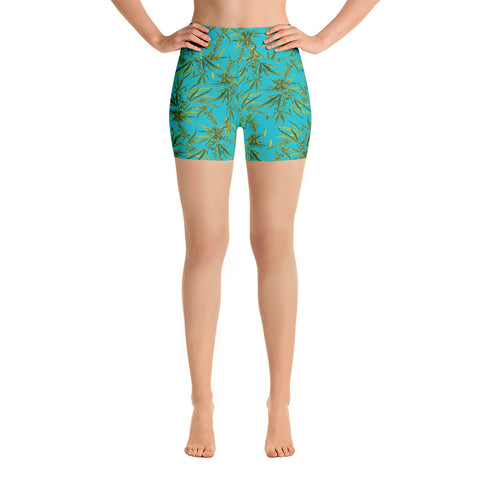 Cannabis Sativa Yoga Shorts-Yoga Shorts-Eat me!