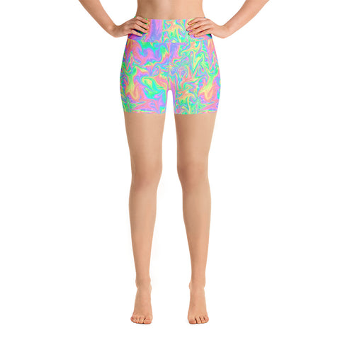 Acid Pastel Yoga Shorts-Yoga Shorts-Eat me!