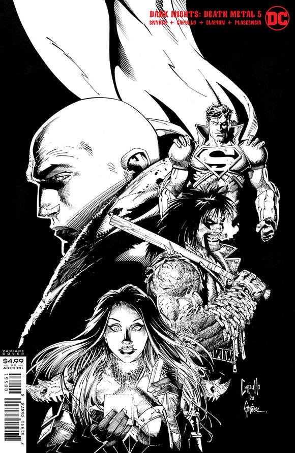 DARK NIGHTS DEATH METAL #5 (OF 7) INC 1:100 GREG CAPULLO & JONATHAN GLAPION BLACK & WHITE VAR