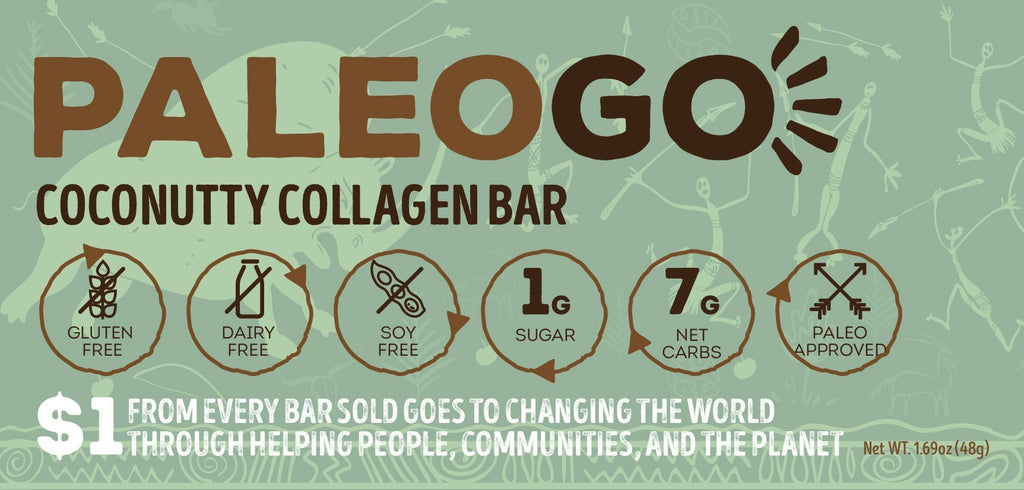 Paleo Go CocoNutty Collagen Bar Label Front