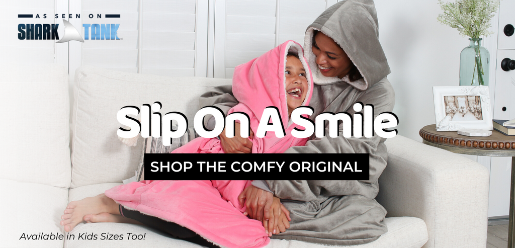 The Comfy Original, Slip on a smile, available in kids sizes too, seen on shark tank