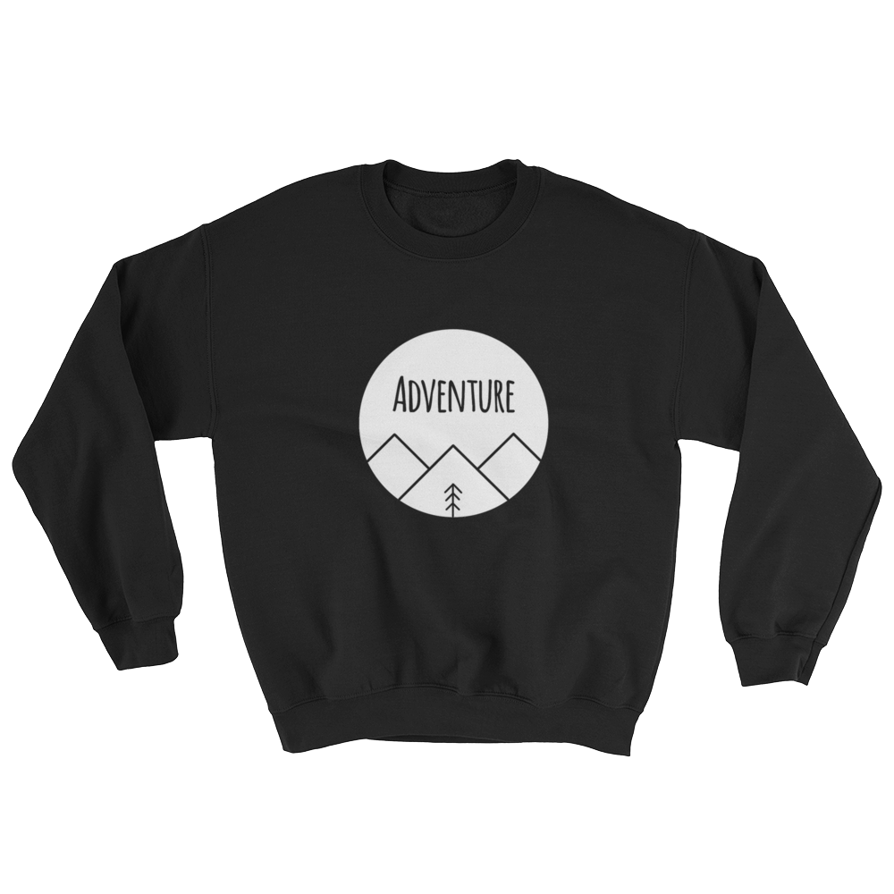 Adventure White Ink, Crewneck Sweatshirt