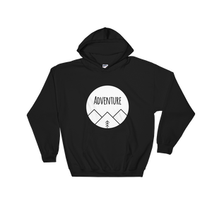 Adventure White Ink, Hooded Sweatshirt