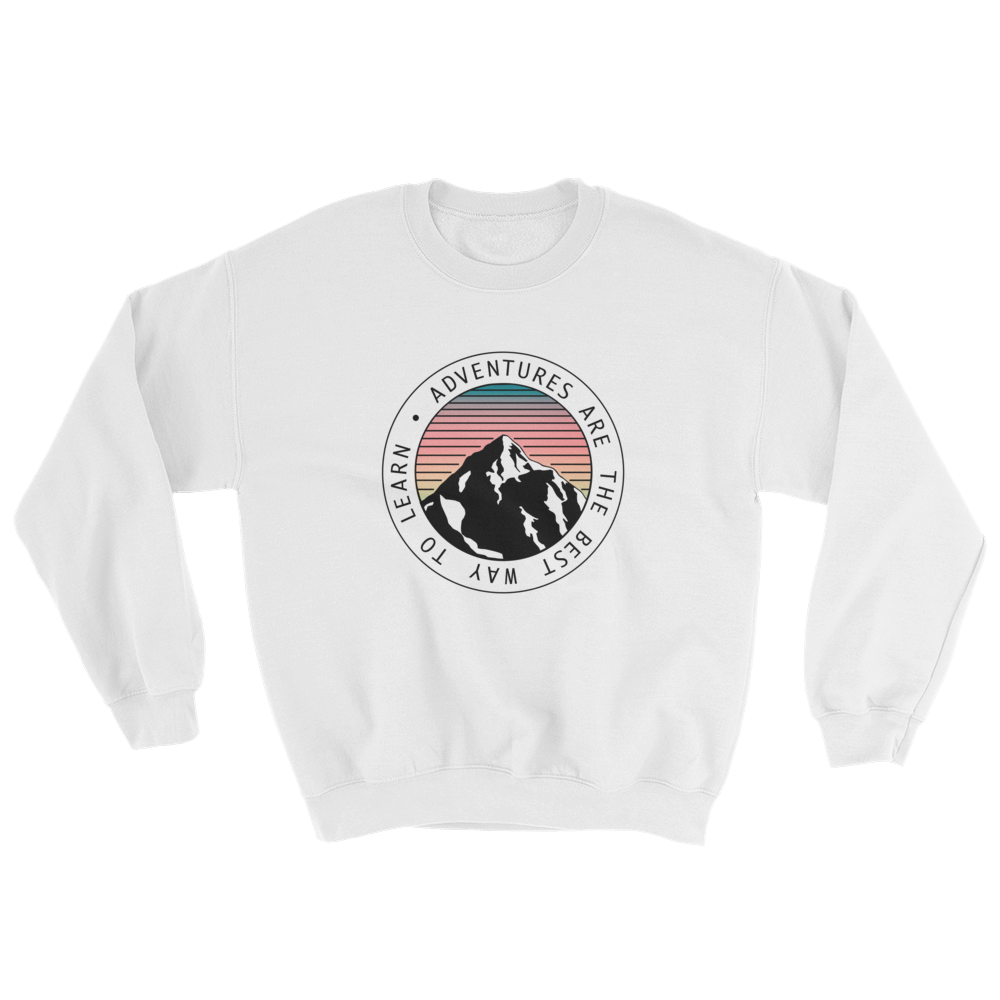 Adventures Are The Best Way To Learn Black Ink, Crewneck Sweatshirt