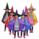 Halloween Costumes Witch Wizard Cloak Gown Robe with Hat Cap Stars