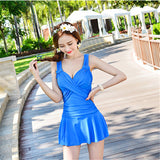 Solid Color Modest One Piece Swimwear