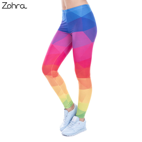 Colorful Triangles Rainbow Leggings -Winter Autumn