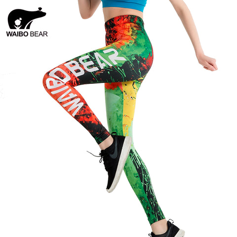 WAIBO BEAR logo leggings