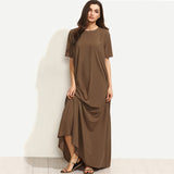 Crew Neck Short Sleeve  Maxi Dress