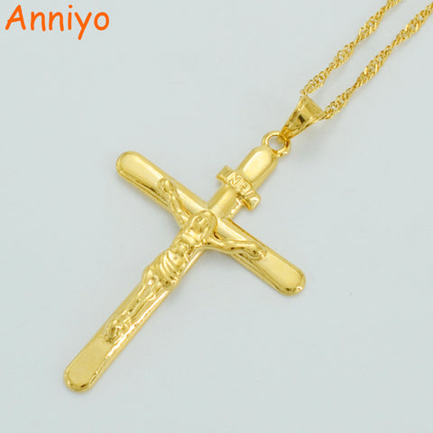 Anniyo Gold Color Cross Necklaces Women