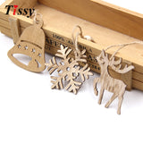 Xmas Wooden Pendant SNOWFLAKES & DEER & TREE Ornaments -10PCS