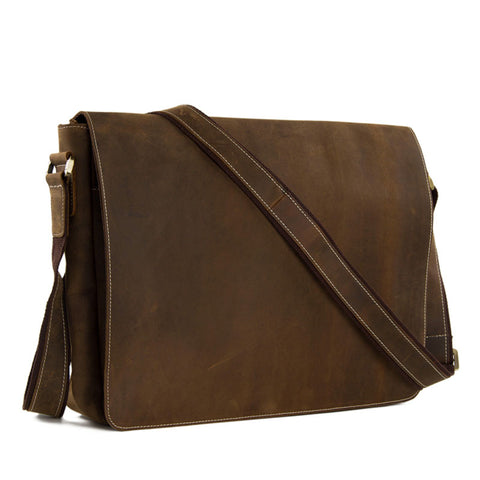 Leather Full Flap Messenger  Bag