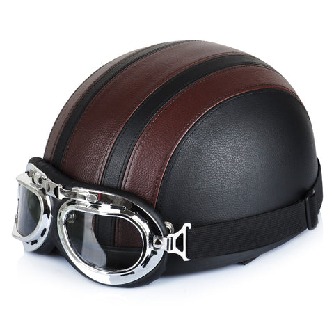 Synthetic Leather Vintage Motorcycle Cruiser Touring -Scooter Helmets
